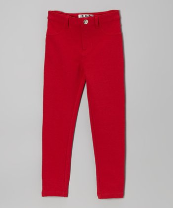 Red Moleton Jeggings - Toddler & Girls