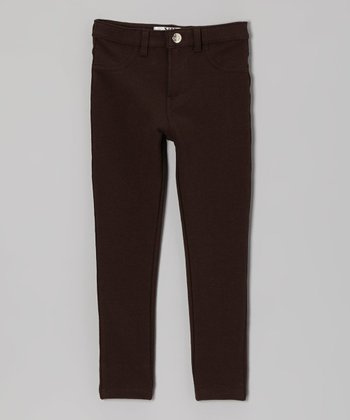 Brown Moleton Jeggings - Toddler & Girls