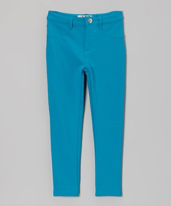 Turquoise Moleton Jeggings - Toddler & Girls