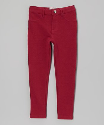 Wine Moleton Jeggings - Toddler & Girls