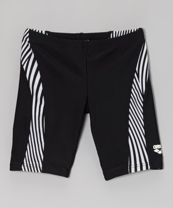 Black & White Stripe Bester Swim Shorts - Boys
