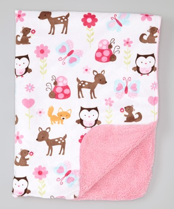Pink & Brown Forest Animal Stroller Blanket