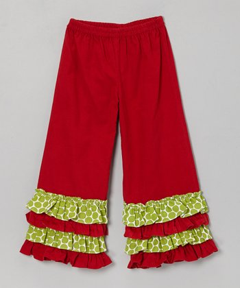 Red & Green Dot Caroline Corduroy Pants - Girls