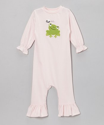 Light Pink Frog Annalee Appliqué Playsuit - Infant & Toddler