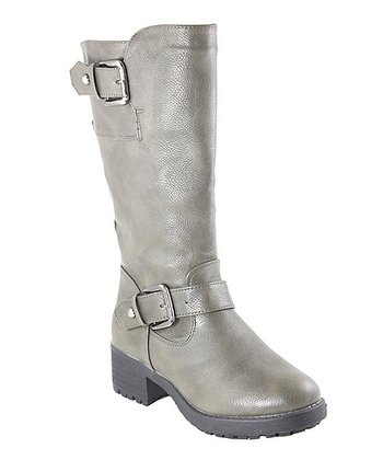 Gray Buckle Boot