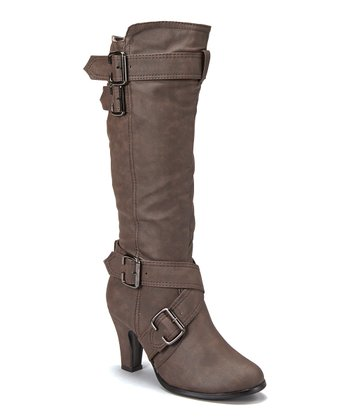 Brown Buckle Tall Boot