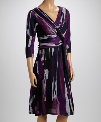 Purple Abstract Surplice Dress