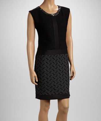Black & White Chain Collar Dress - Women
