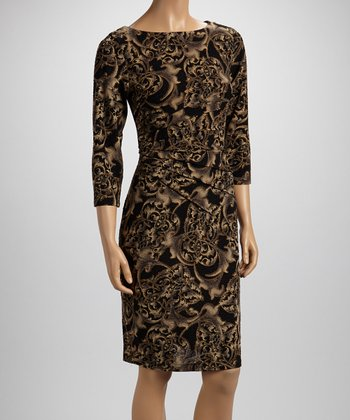 Black & Taupe Abstract Ruched Dress