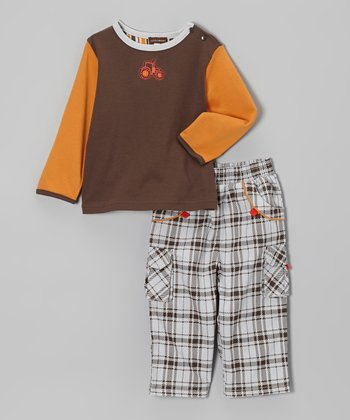 Brown Tractor Tee & Plaid Cargo Pants