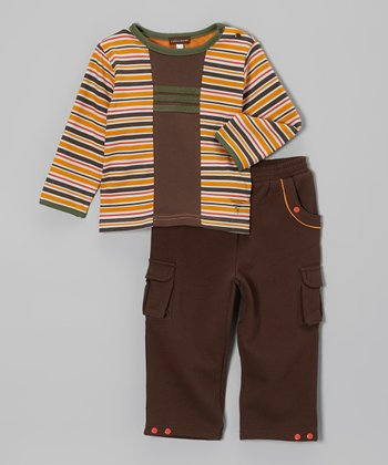 Orange Stripe Tee & Brown Cargo Pants