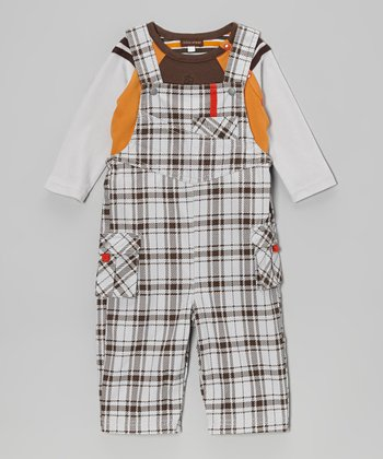Brown Raglan Tee & Plaid Overalls