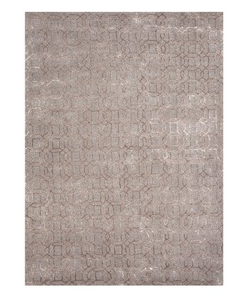 Gray & Black Gradation Wool-Silk Blend Rug