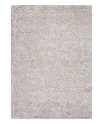 Gray Transitional Abstract Wool-Silk Blend Rug