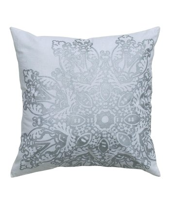 Silver Lace Print Pillow