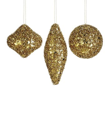 Gold Glittering Ornament - Set of Three