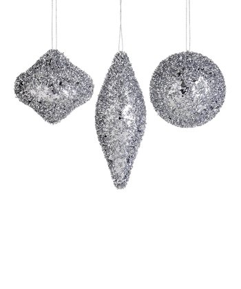 Silver Glittering Ornament - Set of Three