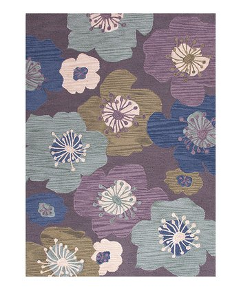 Pink & Purple Tufted Transitional Rug