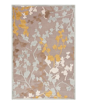 Gray & Brown Floral Transitional Rug