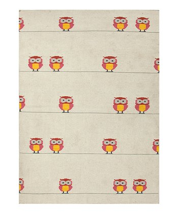 Ivory Owl on the Line Handmade Wool Rug
