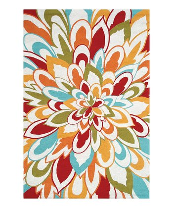 Red & Orange Bloom Indoor/Outdoor Rug