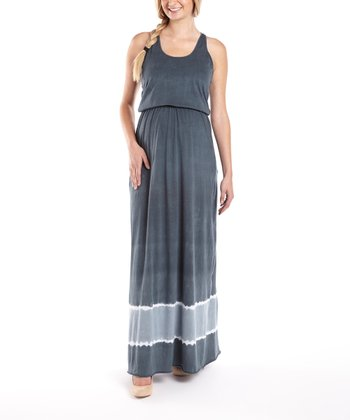 Blue Racerback Maternity Maxi Dress