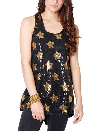 Black Sequin Sleeveless Tunic