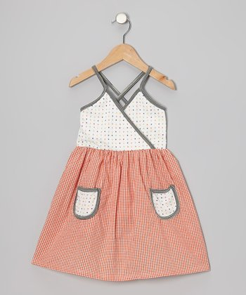 Burnt Orange Gingham Surplice Dress - Infant & Toddler
