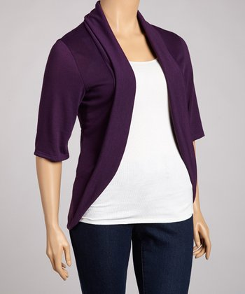 Violet Three-Quarter Sleeve Open Cardigan - Plus