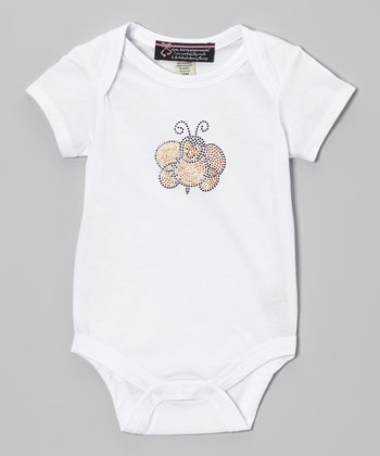 White Smiling Bee Bodysuit - Infant