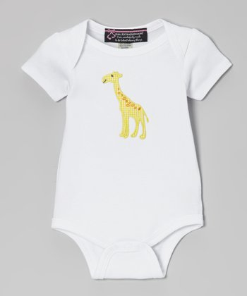White & Yellow Giraffe Bodysuit - Infant