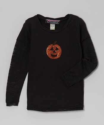 Black Pumpkin Long-Sleeve Tee - Girls