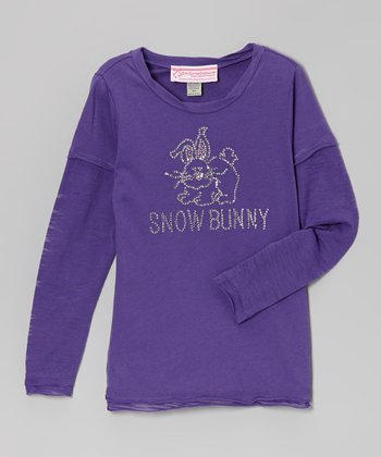 Purple 'Snow Bunny' Long-Sleeve Tee - Girls