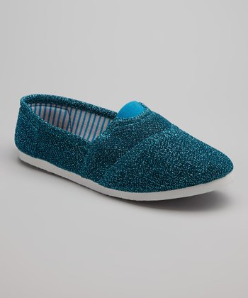 Blue Glitter Go Slip-On Shoe