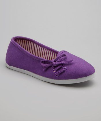 Purple Lace-Up Flat