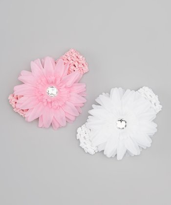 Pink & White Daisy Crocheted Headband Set