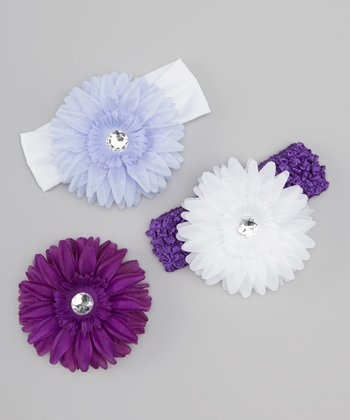 Lavender & Purple Daisy Headband Set