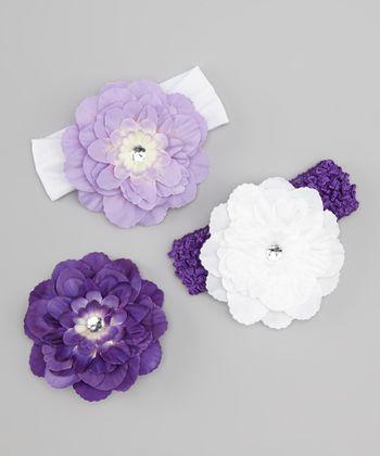 Lavender & Purple Peony Headband Set