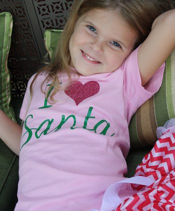 Pink 'I Love Santa' Tee - Infant, Toddler & Girls