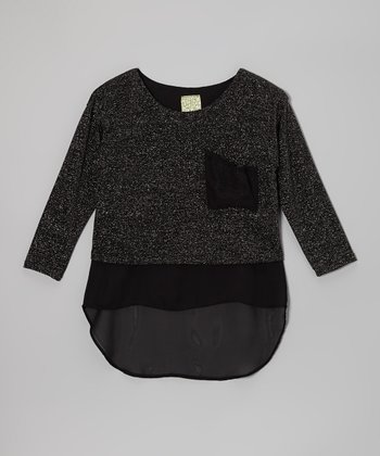 Gray & Black Pocket Top