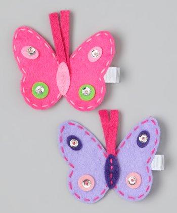 Pink & Purple Butterfly Clip Set