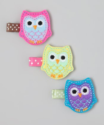 Turquoise & Pink Owl Clip Set