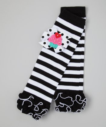 Black & White Stripe Cupcake Leg Warmers