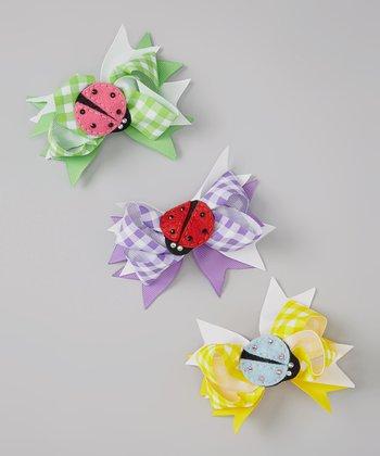 Green & Yellow Gingham Ladybug Bow Clip Set
