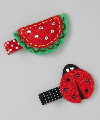 Red & Green Ladybug & Watermelon Clip Set