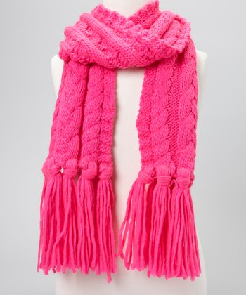 Pink Cable-Knit Scarf