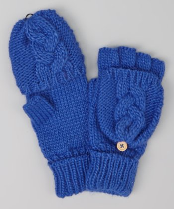 Electric Blue Cable-Knit Convertible Mittens