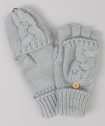Medium Gray Cable-Knit Convertible Mittens