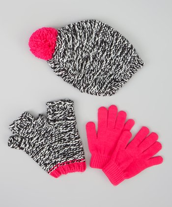 Black & Pink Knit Beanie Set