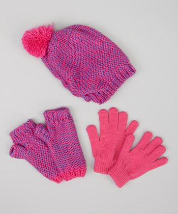 Pink & Purple Knit Beanie Set